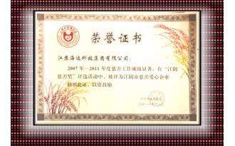 江阴慈善奖荣誉证书