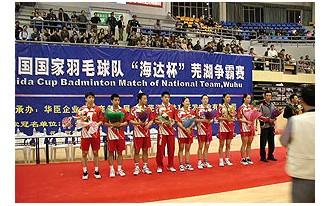 海达赞助国家羽毛球队芜湖争霸赛
